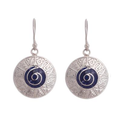 Inca Calendar Sodalite Dangle Earrings from Peru