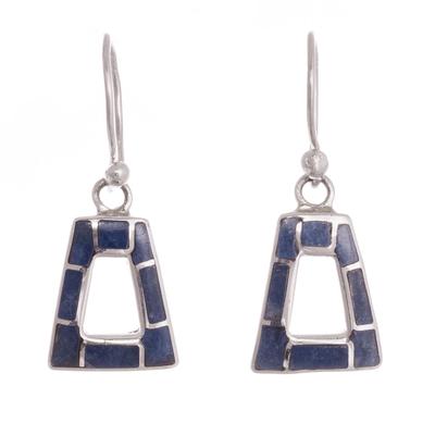 Trapezoidal Sodalite Dangle Earrings from Peru