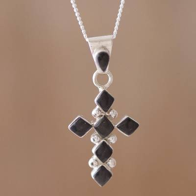 Onyx pendant necklace, Kite Cross