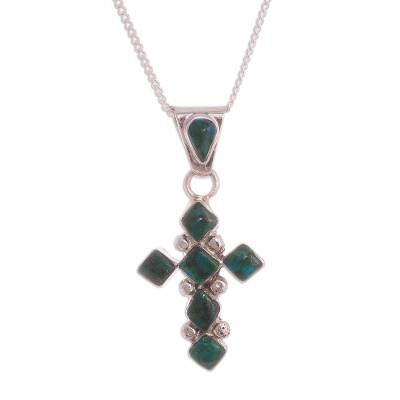 Cross-Shaped Chrysocolla Pendant Necklace from Peru