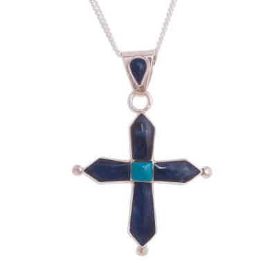 Sodalite and Chrysocolla Cross Pendant Necklace from Peru