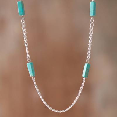 Reconstituted turquoise station necklace, 'Sky Dimension' - Reconstituted Turquoise Station Necklace from Peru