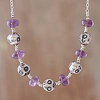 Amethyst beaded necklace, 'Violet Owls' - Amethyst and Sterling Silver Beaded Necklace from Peru
