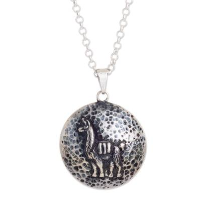 Sterling silver pendant necklace, 'Llama Medallion' - Llama-Themed Sterling Silver Pendant Necklace from Peru