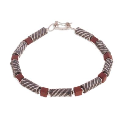 Jasper beaded bracelet, 'Columns' - Spiral Motif Jasper Beaded Bracelet from Peru