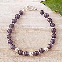 Amethyst beaded bracelet, 'Elegant Glam' - Natural Amethyst Beaded Bracelet from Peru