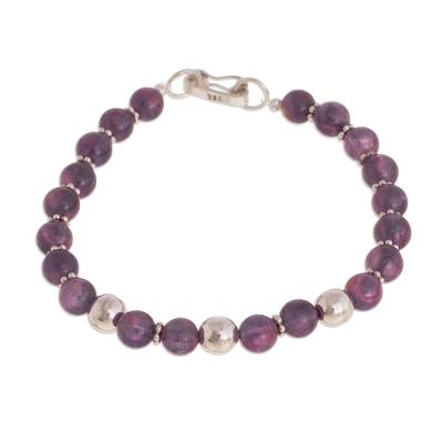 Amethyst beaded bracelet, 'Elegant Glam' - Natural Amethyst Beaded Bracelet from Peru
