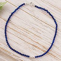 Agate beaded anklet, 'Simple Appeal in Blue'