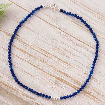 Agate beaded anklet, 'Simple Appeal in Blue' - Blue Agate Beaded Anklet from Peru