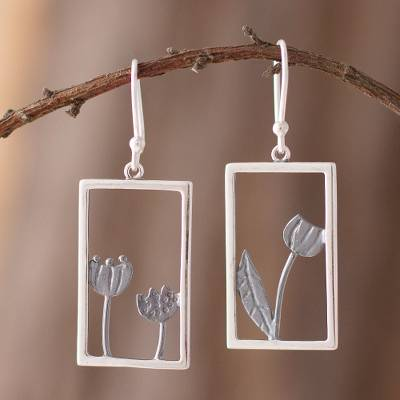Sterling silver dangle earrings, Floral Window