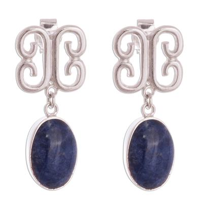 Baroque-Inspired Sodalite Dangle Earrings from Peru