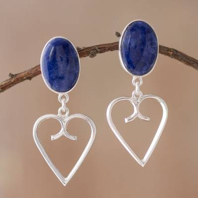Sodalite dangle earrings, 'Majestic Heart' - Heart Motif Sodalite Dangle Earrings from Peru