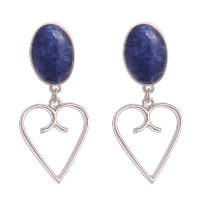 Heart Motif Sodalite Dangle Earrings from Peru