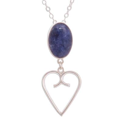 Heart Motif Sodalite Pendant Necklace from Peru