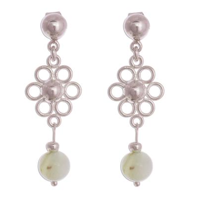 Opal dangle earrings, 'Elegant Andes' - Natural Opal Dangle Earrings from Peru