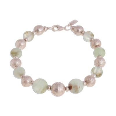 Opal beaded bracelet, 'Opal Elegance' - Opal and Sterling Silver Beaded Bracelet from Peru