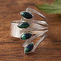 Azurite multi-stone ring, 'Radiant Leaves' - Azurite and Silver Multi-Stone Ring from Peru