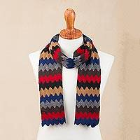 Alpaca blend scarf, 'Subdued Zigzags' - Artisan Crafted Zigzag Alpaca Blend Wrap Scarf from Peru