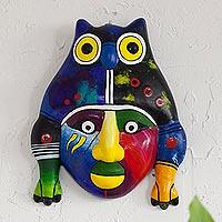 Ceramic mask, 'Mythological Warrior' - Hand-Painted Colorful Ceramic Warrior Mask from Peru