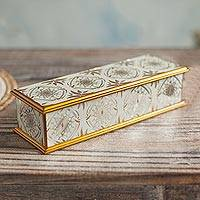 Reverse-painted glass decorative box, 'Golden Treasure' - Gold-Tone Reverse-Painted Glass Decorative Box from Peru