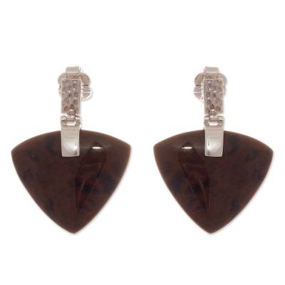 Arrow-Shaped Obsidian Dangle Earrings from Peru