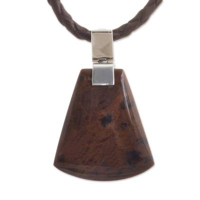 Dark Brown Obsidian Pendant Necklace from Peru