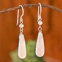 Rose quartz dangle earrings, 'Enchanting Drops' - Drop-Shaped Rose Quartz Dangle Earrings from Peru