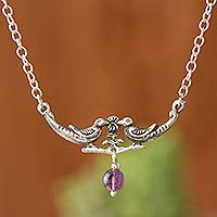 Amethyst pendant necklace, 'Love Birds' - Bird-Themed Amethyst Pendant Necklace from Peru