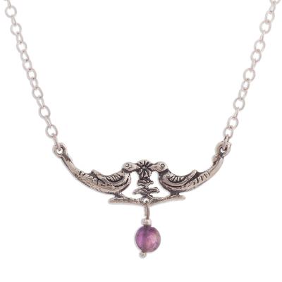 Amethyst pendant necklace, 'Love Birds' - Bird-Themed Amethyst Pendant Necklace from Peru