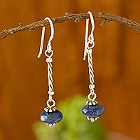 Sodalite dangle earrings, 'Ocean Goddess' - Round Sodalite Dangle Earrings from Peru