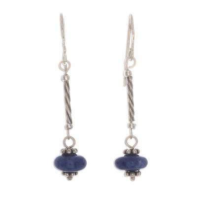 Sodalite dangle earrings, 'Ocean Goddess' - Round Sodalite Dangle Earrings from Peru