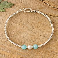 Amazonite bracelet, 'Fantastic Spiral' - Spiral Pattern Amazonite Bracelet from Peru
