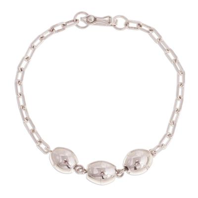 Sterling silver pendant bracelet, 'Special Baubles' - Sterling Silver Link Pendant Bracelet from Peru