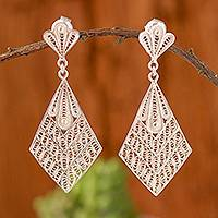 Sterling silver filigree dangle earrings, 'Vintage Kites' - Kite-Shaped Sterling Silver Filigree Dangle Earrings