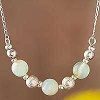 Opal beaded necklace, 'Round Sophistication'