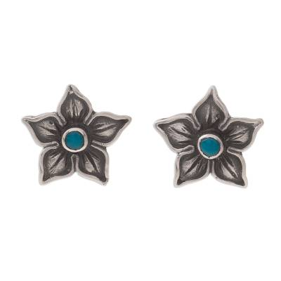 Floral Chrysocolla Stud Earrings from Peru