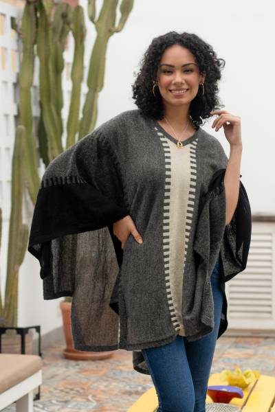 100% alpaca poncho, 'Subtle Paths in Grey' - Black Grey and Alabaster 100% Alpaca Poncho from Peru