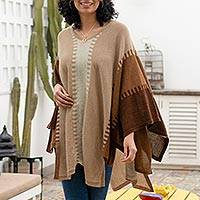 100% alpaca poncho, 'Subtle Paths in Brown' - 100% Alpaca Poncho with Brown Patterns from Peru