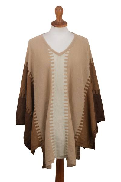 100% Alpaca Poncho with Brown Patterns from Peru