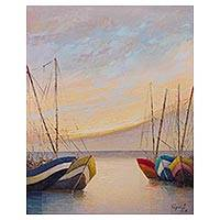 'Sunset Sailboats' - Signed Impressionist Painting of Sailboats at Sea from Peru
