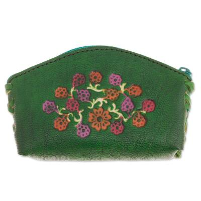 Floral Leather Coin Purse in Viridian from Peru