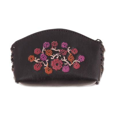 Floral Leather Coin Purse in Black from Peru