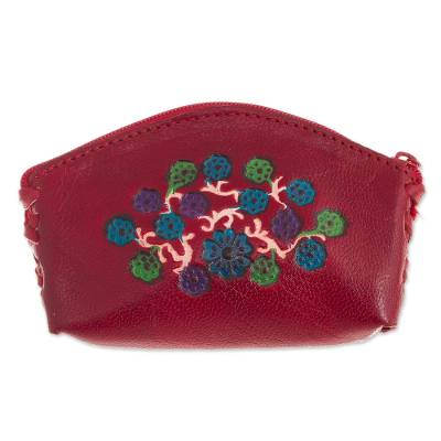 Floral Leather Coin Purse in Cherry from Peru