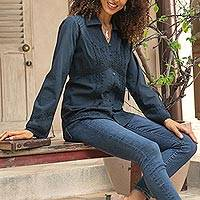 Cotton blouse 'Lily of Incas in Navy'  - Lily of the Incas Button-front Navy Blue Blouse