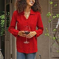 Cotton blouse 'Lily of Incas in Red'  - Lily of the Incas Button-Front Red Cotton Blouse