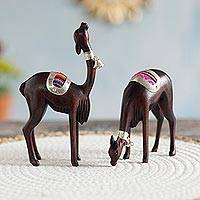 Silver and cedar wood figurines, 'Elegant Vicuñas' (pair)