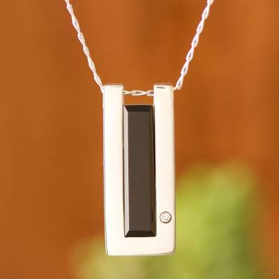 Onyx pendant necklace, 'Ancient Minimalism' - Rectangular Onyx Pendant Necklace from Peru