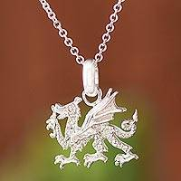 Sterling silver pendant necklace, 'Stylized Dragon'