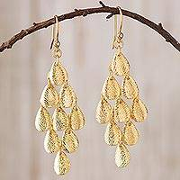 Gold plated sterling silver dangle earrings, 'Rain'
