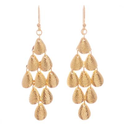 Gold plated sterling silver dangle earrings, 'Rain' - Teardrop Gold Plated Sterling Silver Dangle Earrings